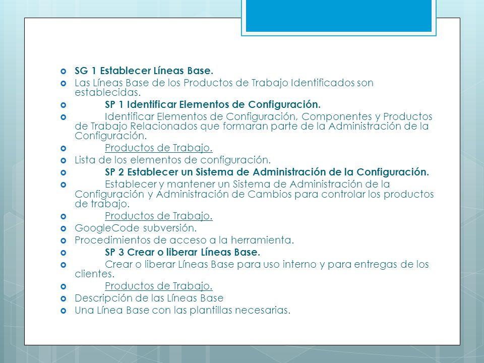 SG 1 Establecer Líneas Base. Las Líneas Base de los Productos de Trabajo Identificados son establecidas. SP 1 Identificar Elementos de Configuración.