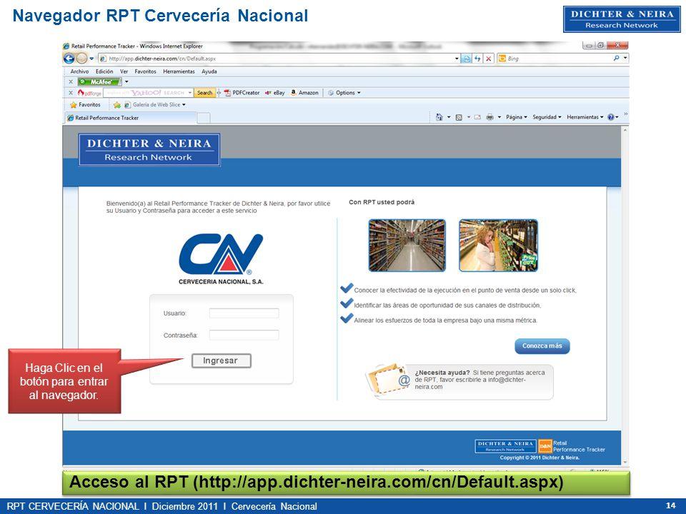 RPT CERVECERÍA NACIONAL I Diciembre 2011 I Cervecería Nacional 14 Navegador RPT Cervecería Nacional Acceso al RPT (http://app.dichter-neira.com/cn/Def