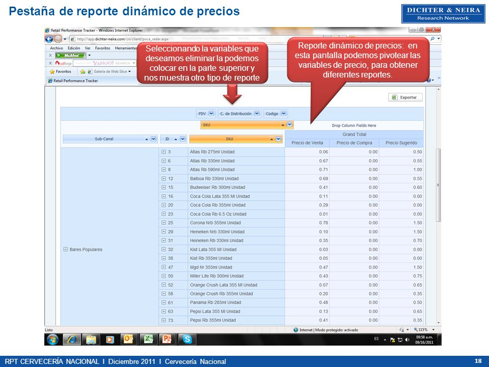 RPT CERVECERÍA NACIONAL I Diciembre 2011 I Cervecería Nacional 18 Pestaña de reporte dinámico de precios Reporte dinámico de precios: en esta pantalla