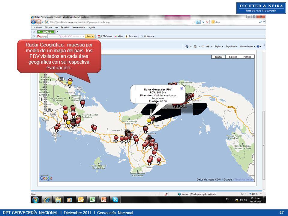 RPT CERVECERÍA NACIONAL I Diciembre 2011 I Cervecería Nacional 27 Radar Geográfico: muestra por medio de un mapa del país, los PDV visitados en cada á