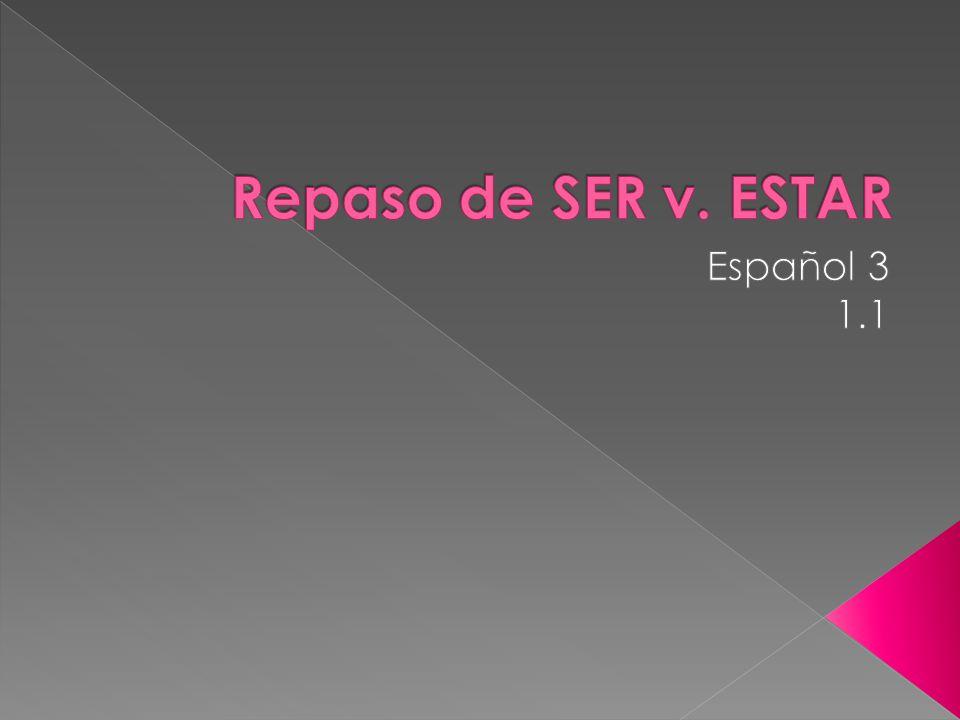 Nationality/Origin SER EX: Ella es mexicana