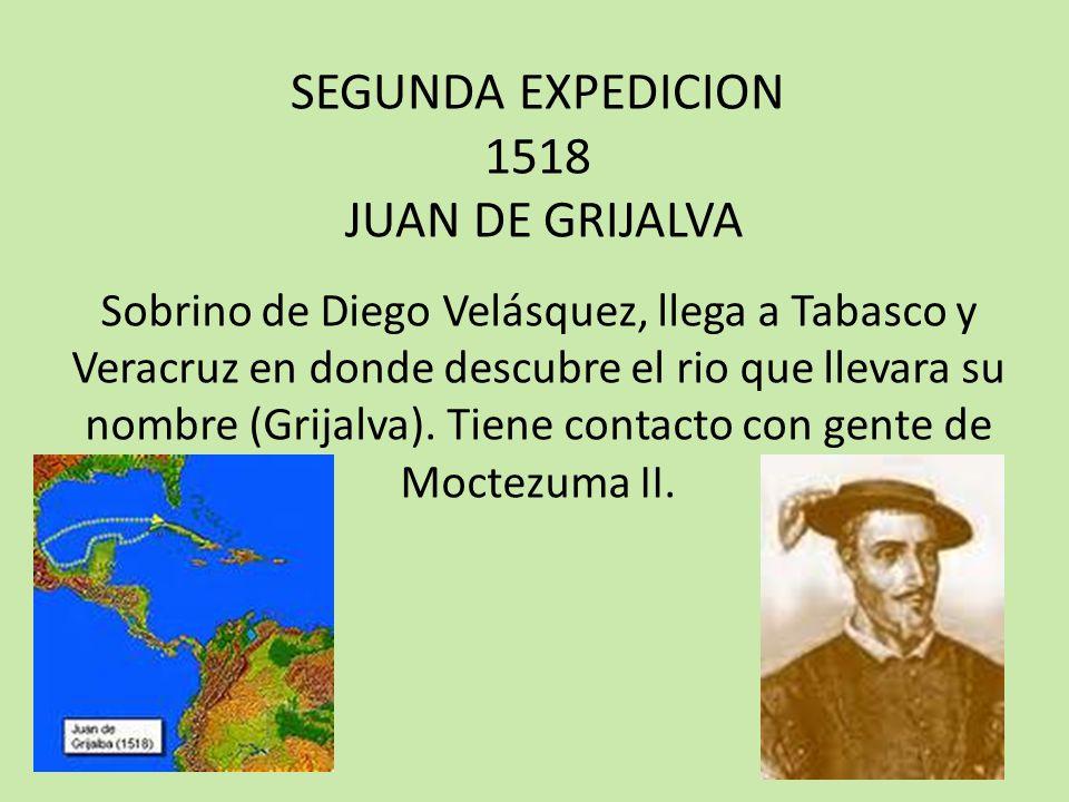 TERCERA EXPEDICION 1519 HERNAN CORTES Comisionado por Diego Velásquez, reúne cerca de 600 hombres y 16 caballos, explora Cozumel, Mérida y Campeche, llegando a Veracruz en donde funda la primera ciudad, La Villa Rica de la Veracruz y continuó hasta conquistar Tenochtitlán en 1521.