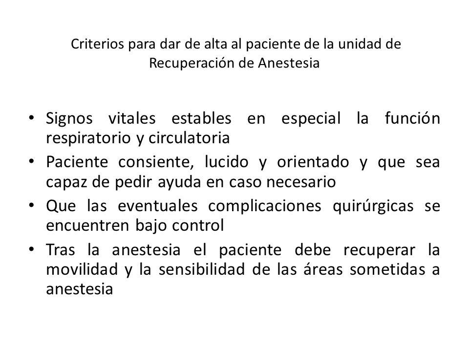 Criterios para dar de alta al paciente de la unidad de Recuperación de Anestesia Signos vitales estables en especial la función respiratorio y circulatoria Paciente consiente, lucido y orientado y que sea capaz de pedir ayuda en caso necesario Que las eventuales complicaciones quirúrgicas se encuentren bajo control Tras la anestesia el paciente debe recuperar la movilidad y la sensibilidad de las áreas sometidas a anestesia