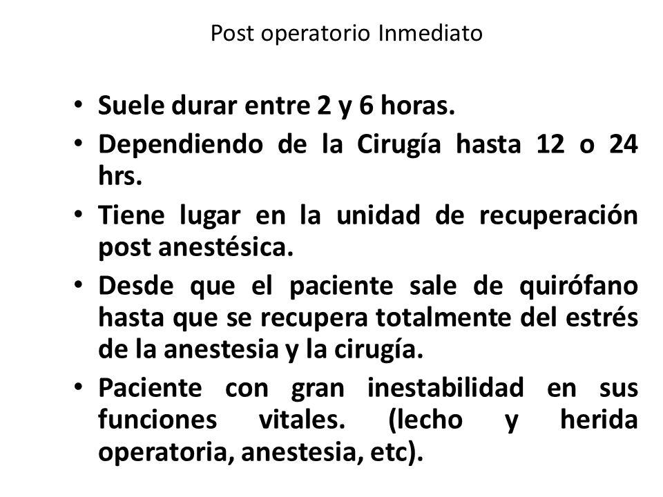 Post operatorio Inmediato Suele durar entre 2 y 6 horas.