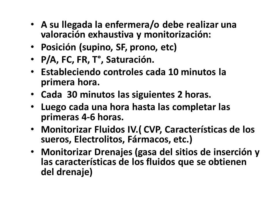 A su llegada la enfermera/o debe realizar una valoración exhaustiva y monitorización: Posición (supino, SF, prono, etc) P/A, FC, FR, T°, Saturación.