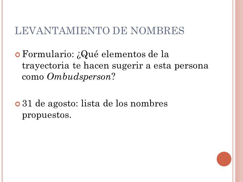 LEVANTAMIENTO DE NOMBRES DISCUSIÓN POR CARRERA: (2 AL 9 DE SEPTIEMBRE) Criterios Objeciones Nombres (mínimo 2, máximo 4)