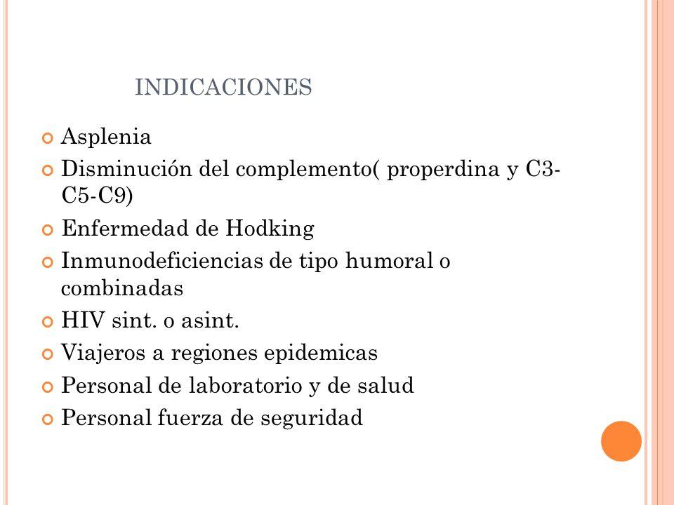 INDICACIONES Asplenia Disminución del complemento( properdina y C3- C5-C9) Enfermedad de Hodking Inmunodeficiencias de tipo humoral o combinadas HIV s