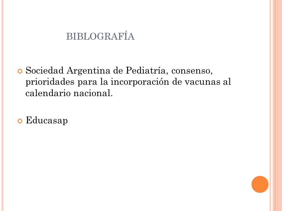 BIBLOGRAFÍA Sociedad Argentina de Pediatría, consenso, prioridades para la incorporación de vacunas al calendario nacional.