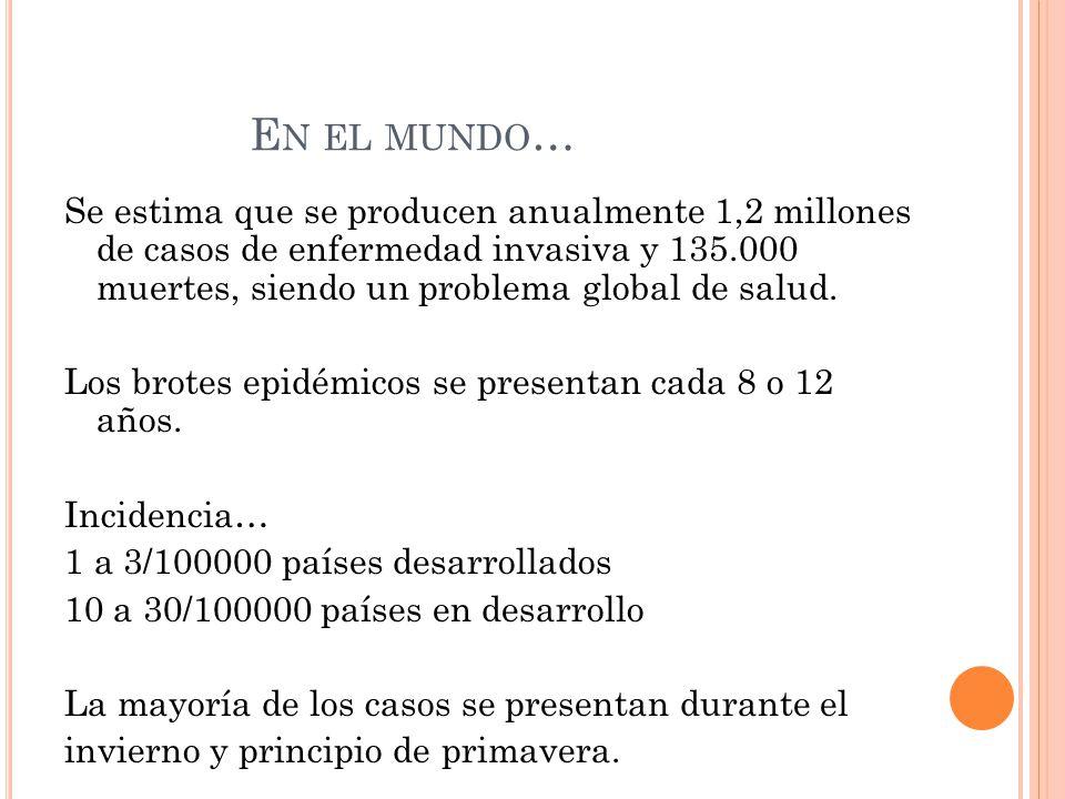 E N EL MUNDO … Se estima que se producen anualmente 1,2 millones de casos de enfermedad invasiva y 135.000 muertes, siendo un problema global de salud.