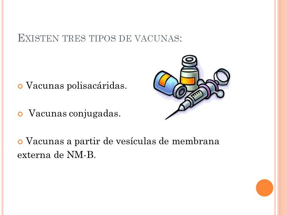 E XISTEN TRES TIPOS DE VACUNAS : Vacunas polisacáridas. Vacunas conjugadas. Vacunas a partir de vesículas de membrana externa de NM-B.