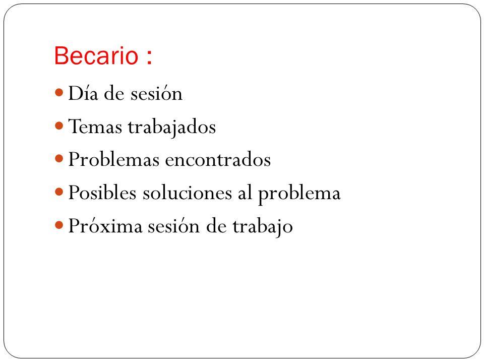 Becario : Día de sesión Temas trabajados Problemas encontrados Posibles soluciones al problema Próxima sesión de trabajo