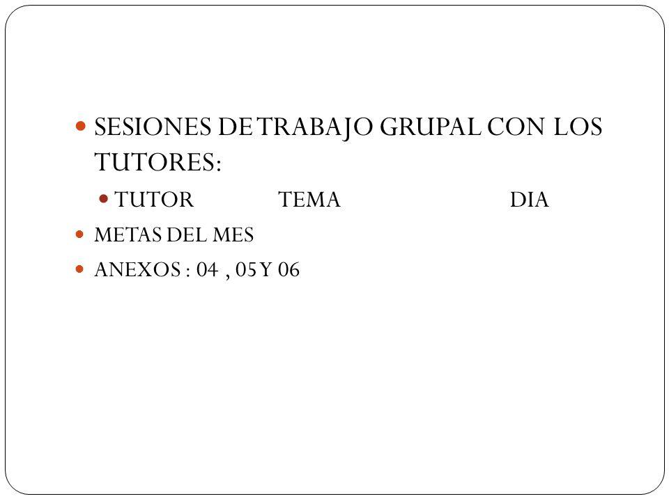 SESIONES DE TRABAJO GRUPAL CON LOS TUTORES: TUTOR TEMA DIA METAS DEL MES ANEXOS : 04, 05 Y 06