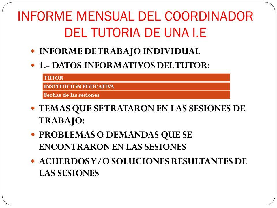 INFORME MENSUAL DEL COORDINADOR DEL TUTORIA DE UNA I.E INFORME DE TRABAJO INDIVIDUAL 1.- DATOS INFORMATIVOS DEL TUTOR: TEMAS QUE SE TRATARON EN LAS SE