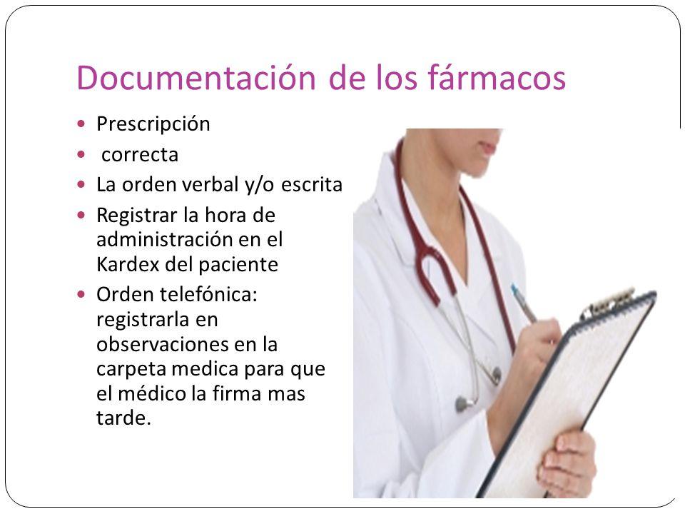Documentación de los fármacos Prescripción correcta La orden verbal y/o escrita Registrar la hora de administración en el Kardex del paciente Orden te