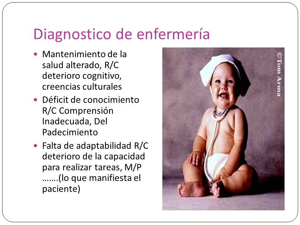 Diagnostico de enfermería Mantenimiento de la salud alterado, R/C deterioro cognitivo, creencias culturales Déficit de conocimiento R/C Comprensión In