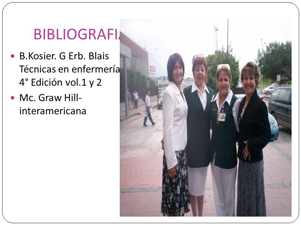 BIBLIOGRAFIA B.Kosier. G Erb. Blais Técnicas en enfermería 4° Edición vol.1 y 2 Mc. Graw Hill- interamericana