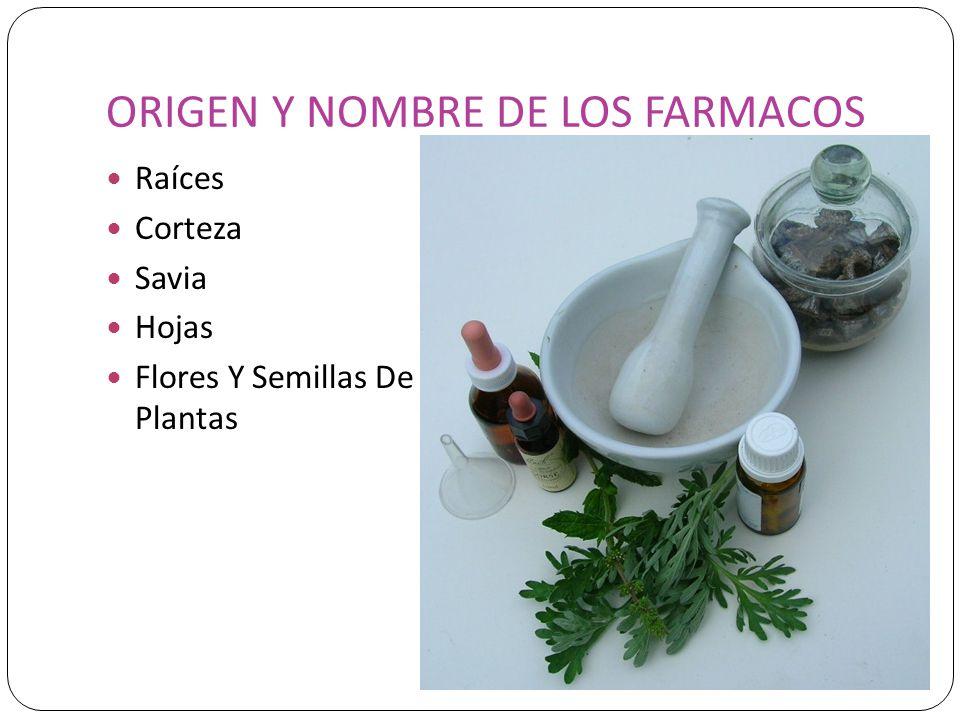 ORIGEN Y NOMBRE DE LOS FARMACOS Raíces Corteza Savia Hojas Flores Y Semillas De Plantas