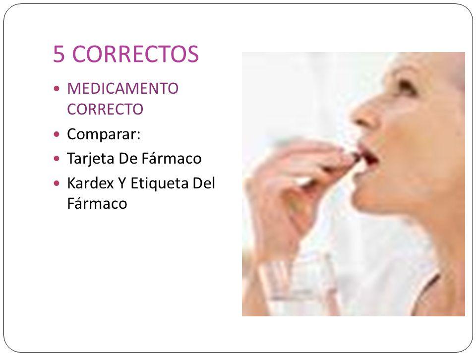 5 CORRECTOS MEDICAMENTO CORRECTO Comparar: Tarjeta De Fármaco Kardex Y Etiqueta Del Fármaco