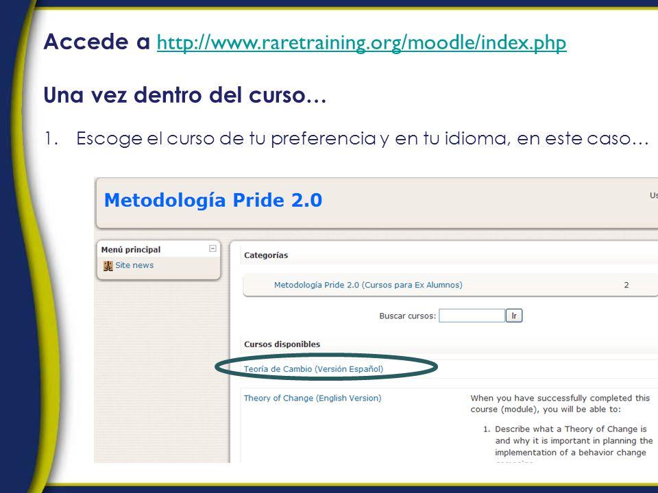 Accede a http://www.raretraining.org/moodle/index.php http://www.raretraining.org/moodle/index.php Una vez dentro del curso… 1.Escoge el curso de tu preferencia y en tu idioma, en este caso…