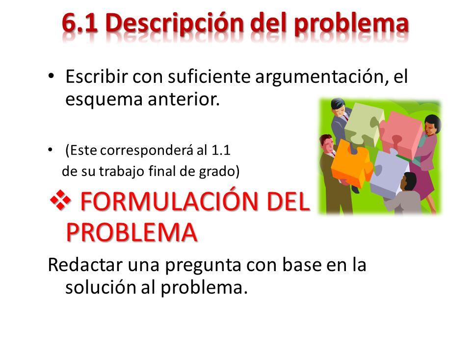 Escribir con suficiente argumentación, el esquema anterior. (Este corresponderá al 1.1 de su trabajo final de grado) FORMULACIÓN DEL PROBLEMA FORMULAC