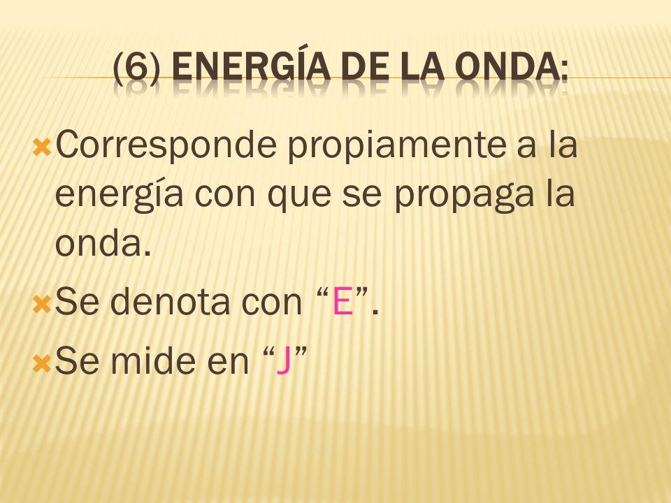 Corresponde propiamente a la energía con que se propaga la onda. Se denota con E. Se mide en J