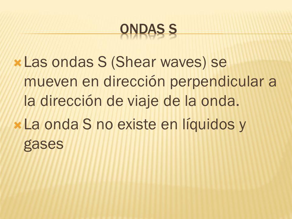 Las ondas S (Shear waves) se mueven en dirección perpendicular a la dirección de viaje de la onda. La onda S no existe en líquidos y gases