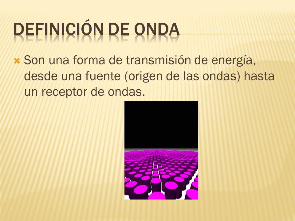 Son una forma de transmisión de energía, desde una fuente (origen de las ondas) hasta un receptor de ondas.