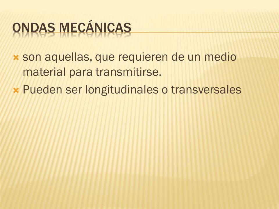 son aquellas, que requieren de un medio material para transmitirse. Pueden ser longitudinales o transversales