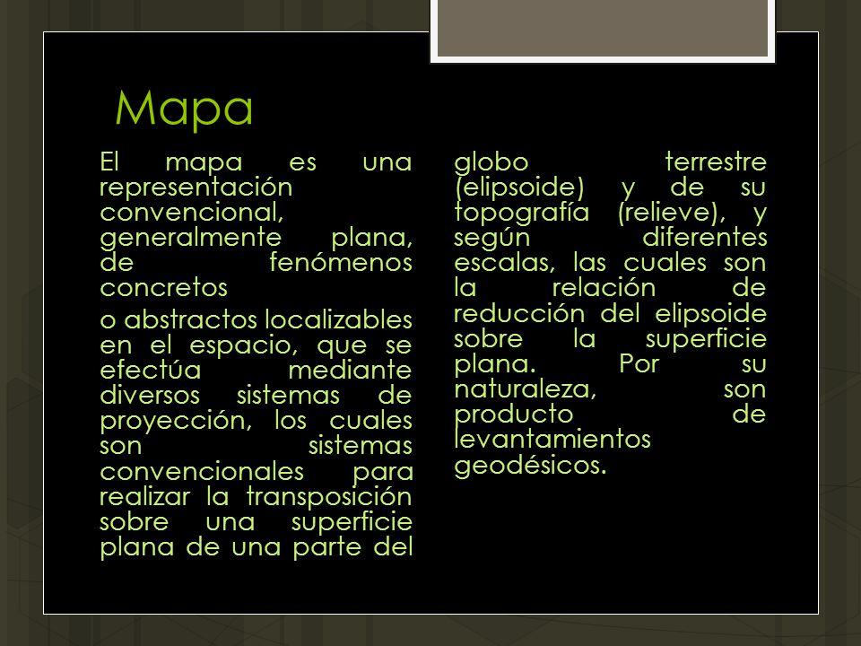Mapa El mapa es una representación convencional, generalmente plana, de fenómenos concretos o abstractos localizables en el espacio, que se efectúa me