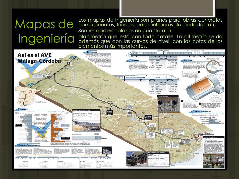 Mapas de Ingeniería Los mapas de Ingeniería son planos para obras concretas como puentes, túneles, pasos inferiores de ciudades, etc. Son verdaderos p