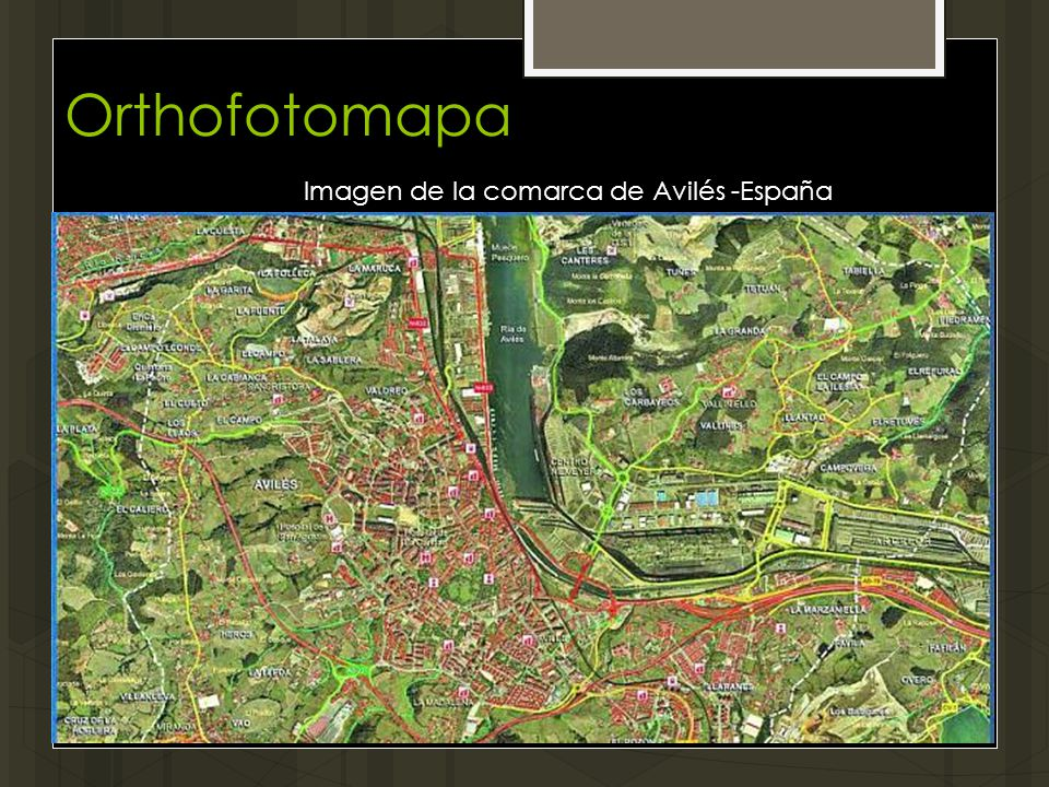 Orthofotomapa Imagen de la comarca de Avilés -España