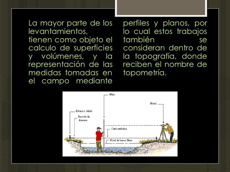 La mayor parte de los levantamientos, tienen como objeto el calculo de superficies y volúmenes, y la representación de las medidas tomadas en el campo