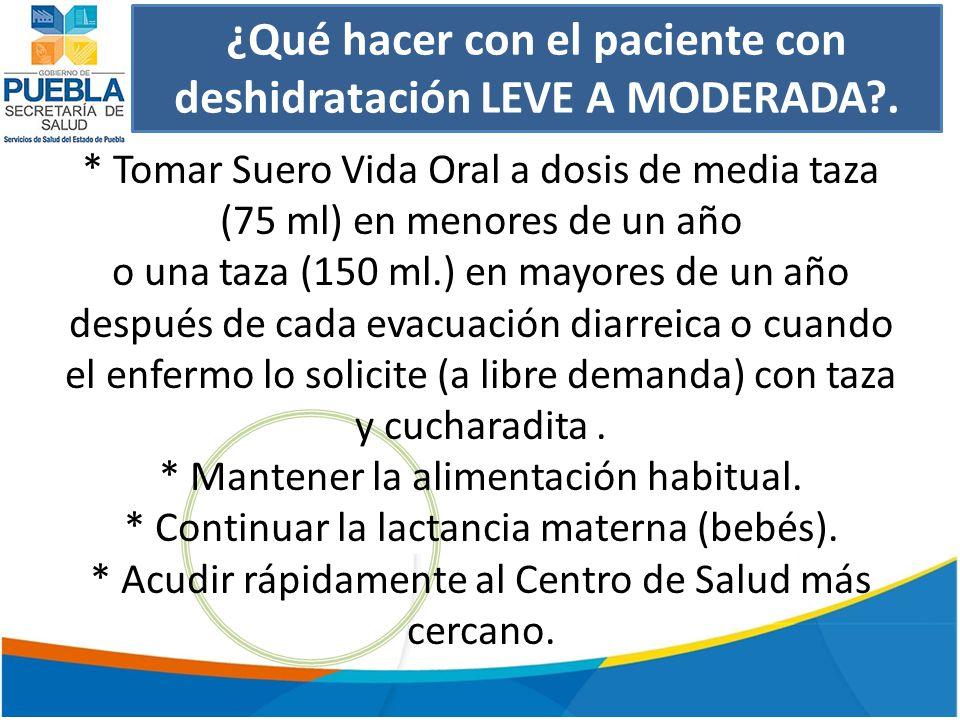 ¿Qué hacer con el paciente con deshidratación LEVE A MODERADA?.