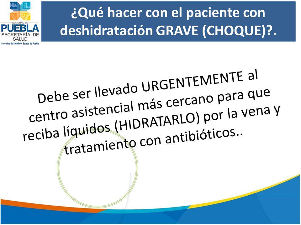 ¿Qué hacer con el paciente con deshidratación GRAVE (CHOQUE)?.