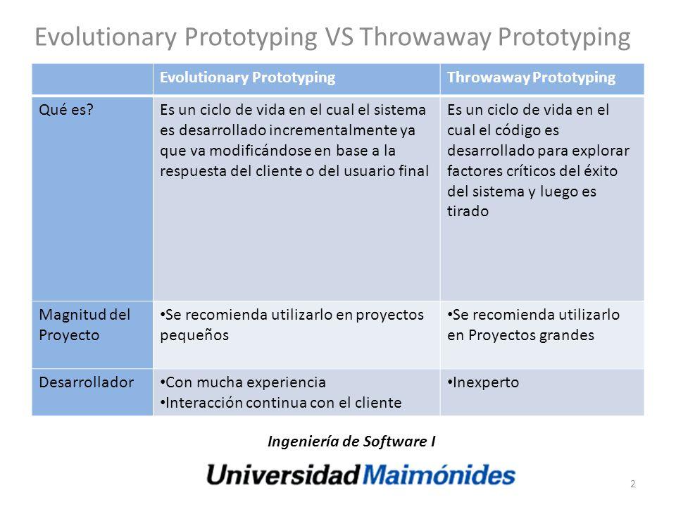 Evolutionary Prototyping VS Throwaway Prototyping Evolutionary PrototypingThrowaway Prototyping Qué es?Es un ciclo de vida en el cual el sistema es de