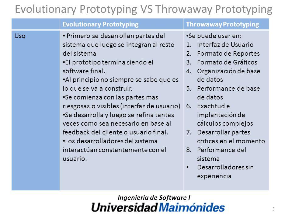 Evolutionary Prototyping VS Throwaway Prototyping Evolutionary PrototypingThrowaway Prototyping Uso Primero se desarrollan partes del sistema que lueg