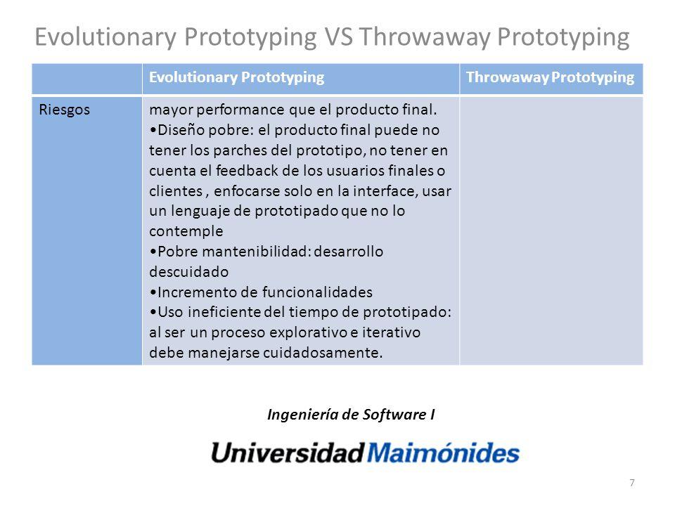 Evolutionary Prototyping VS Throwaway Prototyping Evolutionary PrototypingThrowaway Prototyping Riesgosmayor performance que el producto final. Diseño