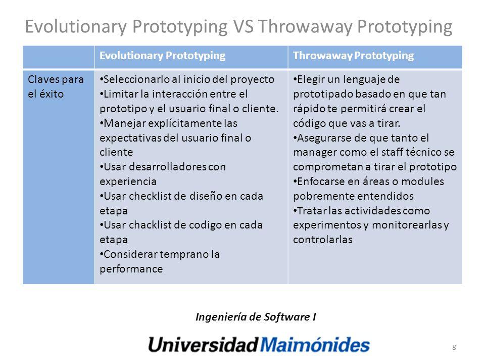 Evolutionary Prototyping VS Throwaway Prototyping Evolutionary PrototypingThrowaway Prototyping Claves para el éxito Seleccionarlo al inicio del proye