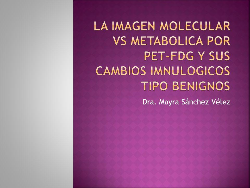 Entendemos que la técnica PET-FDG es una imagen que se basa en la incorporación de moléculas de un análogo de glucosa (FDG) al organismo y que estas inmediatamente son identificadas por grupos de proteínas que conocemos como trasportadores de glucosa (GLUTS), para ser incorporadas a mecanismo metabólico, productor de energía.