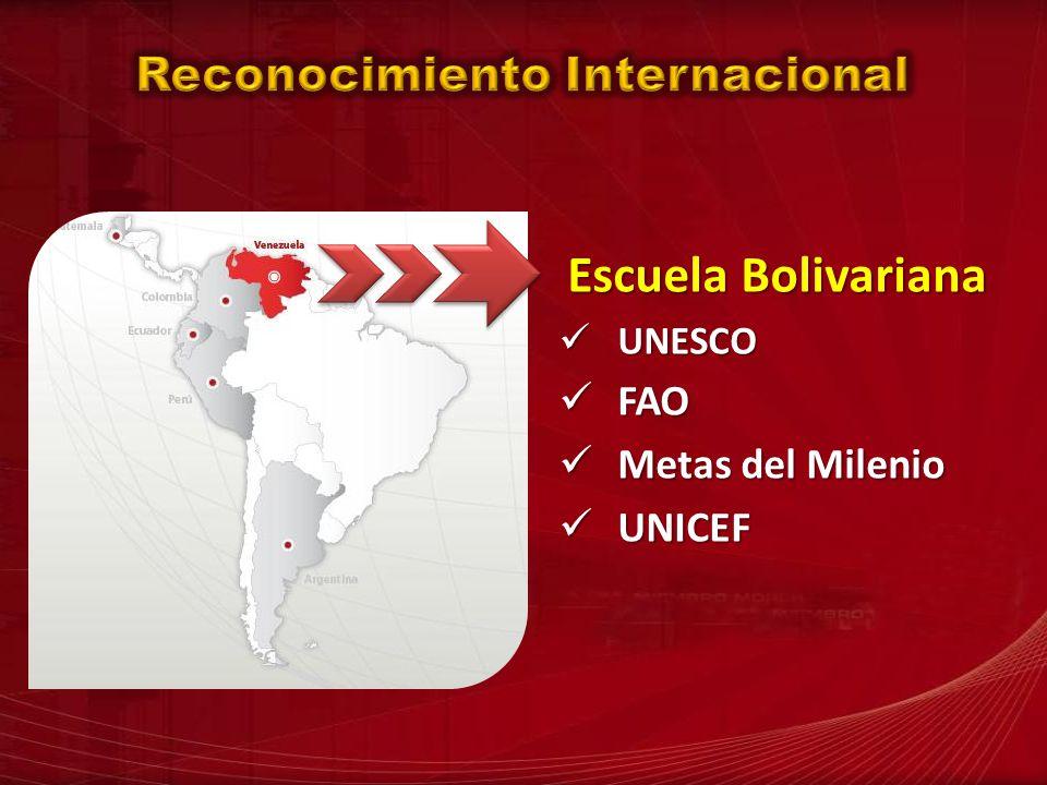 Escuela Bolivariana UNESCO UNESCO FAO FAO Metas del Milenio Metas del Milenio UNICEF UNICEF
