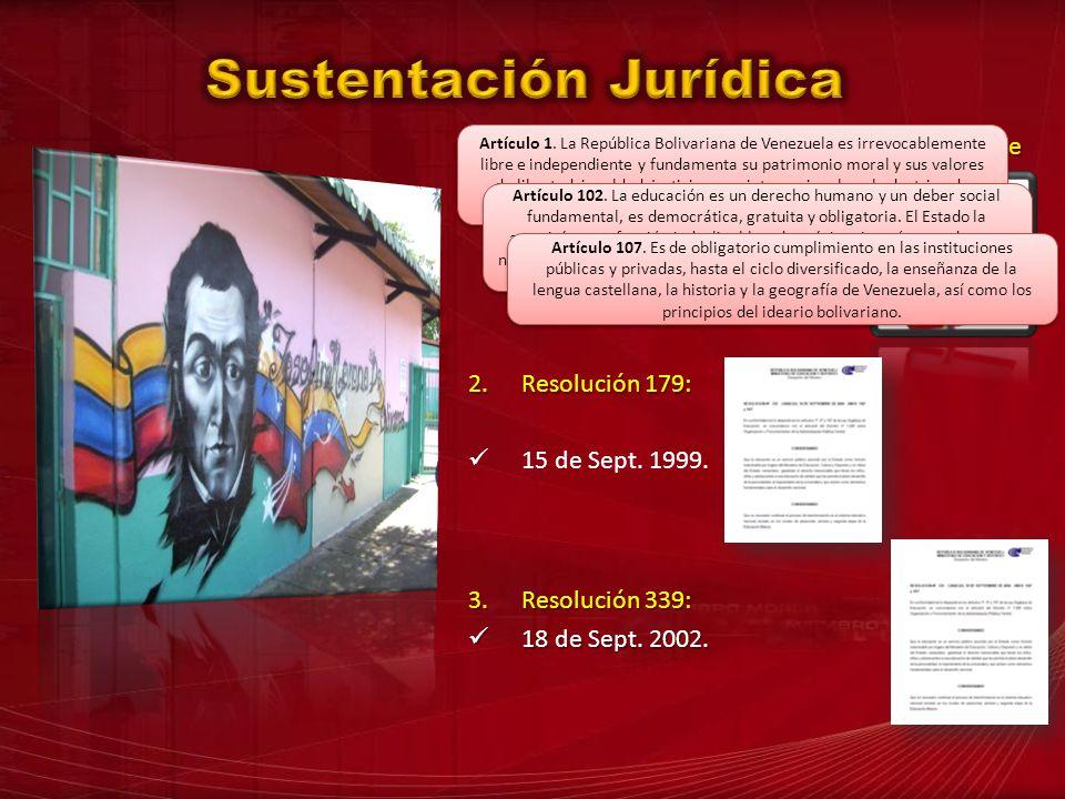 1.Constitución de la República Bolivariana de Venezuela. Art. 1 Art. 102 Art. 107 2.Resolución 179: 15 de Sept. 1999. 3.Resolución 339: 18 de Sept. 20