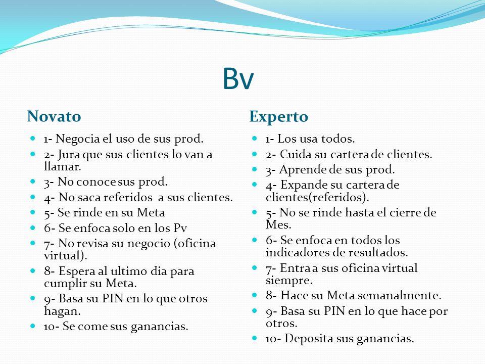 Bv Novato Experto 1- Negocia el uso de sus prod.2- Jura que sus clientes lo van a llamar.