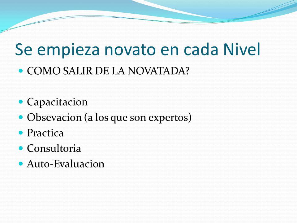 Se empieza novato en cada Nivel COMO SALIR DE LA NOVATADA.