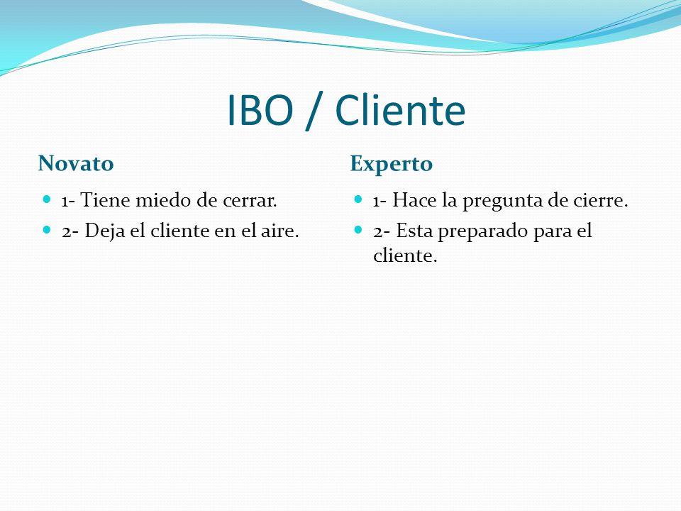 IBO / Cliente Novato Experto 1- Tiene miedo de cerrar.