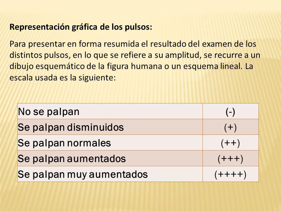 No se palpan(-) Se palpan disminuidos(+) Se palpan normales(++) Se palpan aumentados(+++) Se palpan muy aumentados(++++) Representación gráfica de los pulsos: Para presentar en forma resumida el resultado del examen de los distintos pulsos, en lo que se refiere a su amplitud, se recurre a un dibujo esquemático de la figura humana o un esquema lineal.