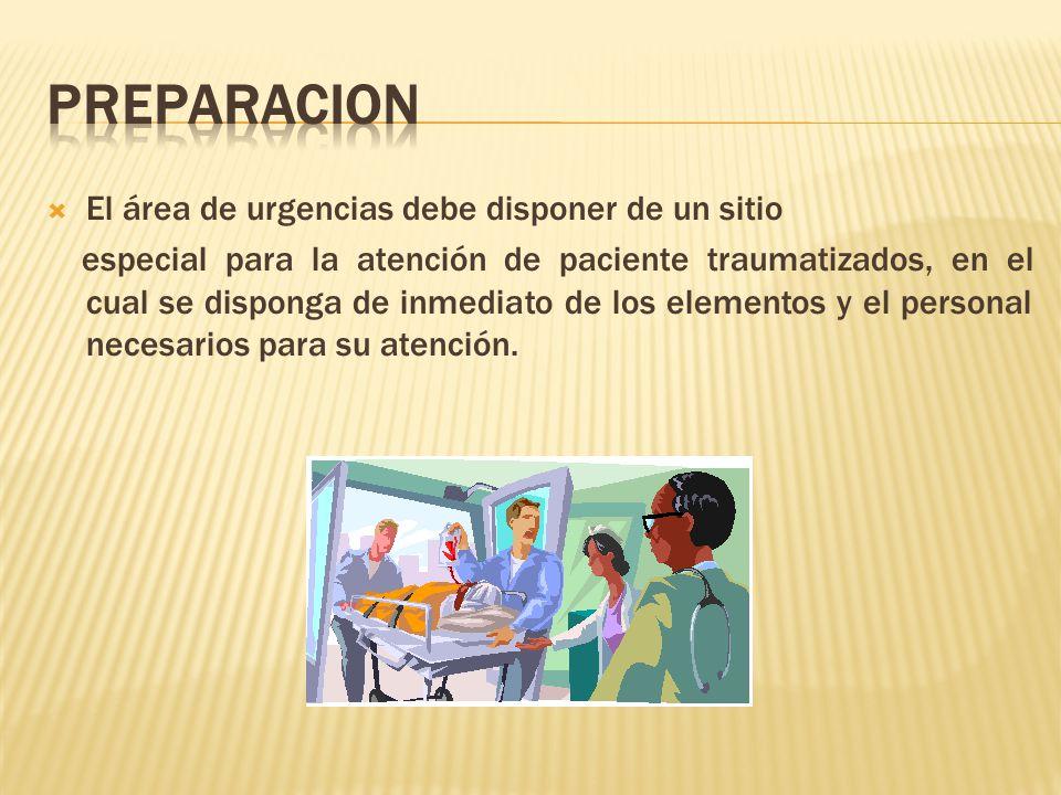 El área de urgencias debe disponer de un sitio especial para la atención de paciente traumatizados, en el cual se disponga de inmediato de los elementos y el personal necesarios para su atención.