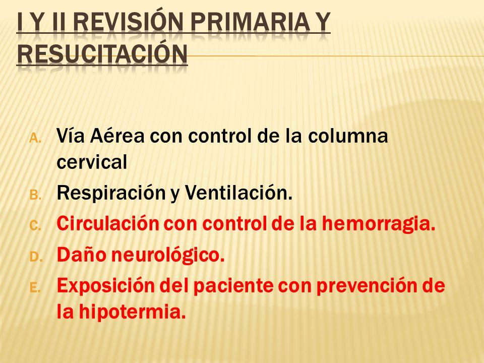 A. Vía Aérea con control de la columna cervical B. Respiración y Ventilación. C. Circulación con control de la hemorragia. D. Daño neurológico. E. Exp