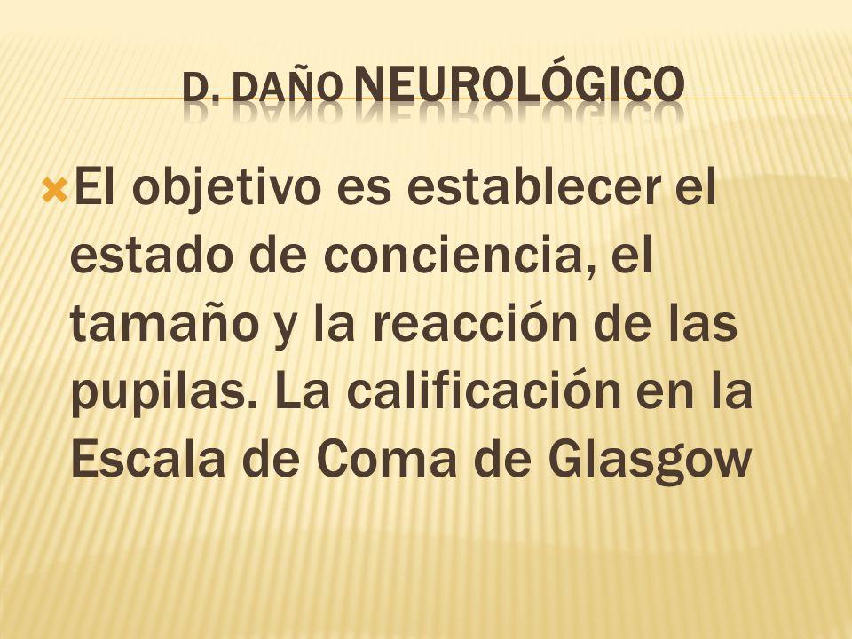 El objetivo es establecer el estado de conciencia, el tamaño y la reacción de las pupilas.