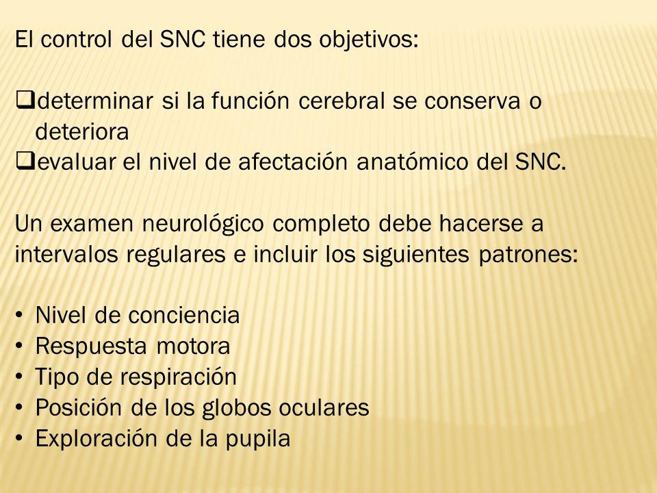 El control del SNC tiene dos objetivos: determinar si la función cerebral se conserva o deteriora evaluar el nivel de afectación anatómico del SNC.