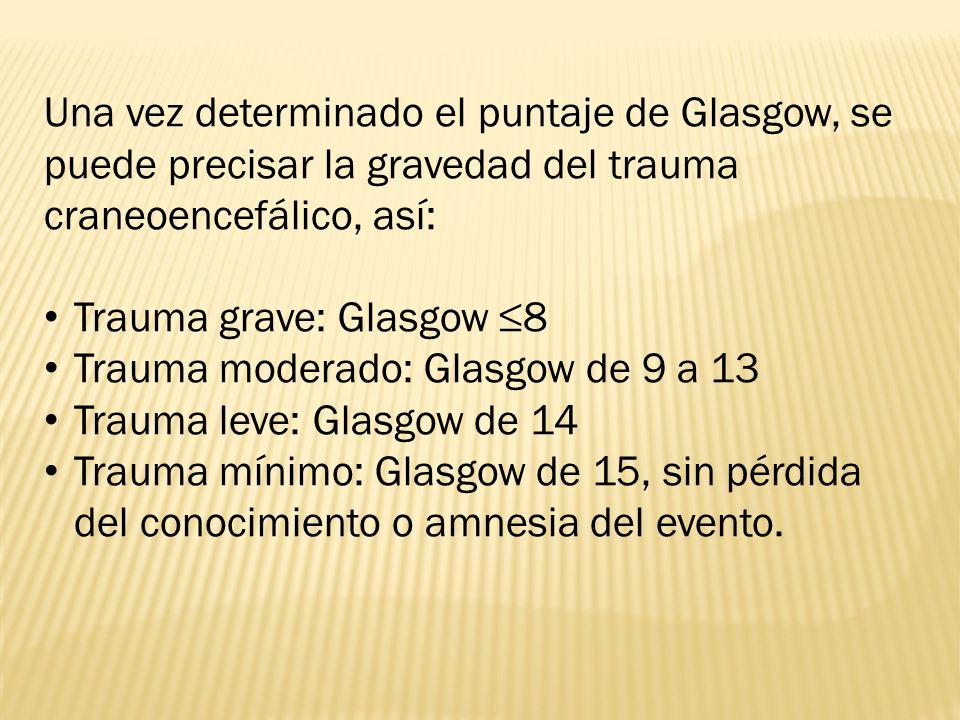 Una vez determinado el puntaje de Glasgow, se puede precisar la gravedad del trauma craneoencefálico, así: Trauma grave: Glasgow 8 Trauma moderado: Glasgow de 9 a 13 Trauma leve: Glasgow de 14 Trauma mínimo: Glasgow de 15, sin pérdida del conocimiento o amnesia del evento.